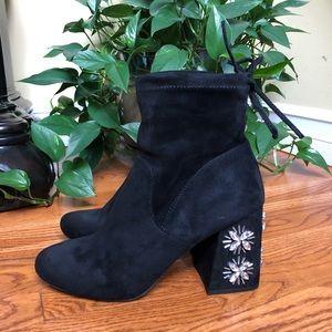 Target Suede Booties with Gems on Heels